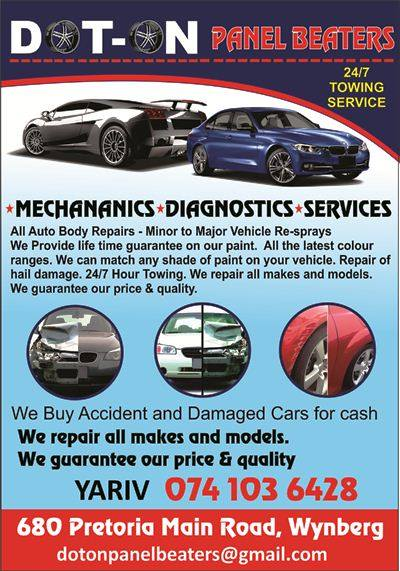 DOT ON PANELBEATERS website, Mechanics, Diagnostics, Service, All auto body repairs – minor to major, Vehicle re-sprays – we provide life time guarantee on our paint, All the latest colour ranges, we can match any shade of paint on your vehicle, Repair of hail damage, 24/7 Hour Towing, We repair all makes and models, We guarantee our price & quality,